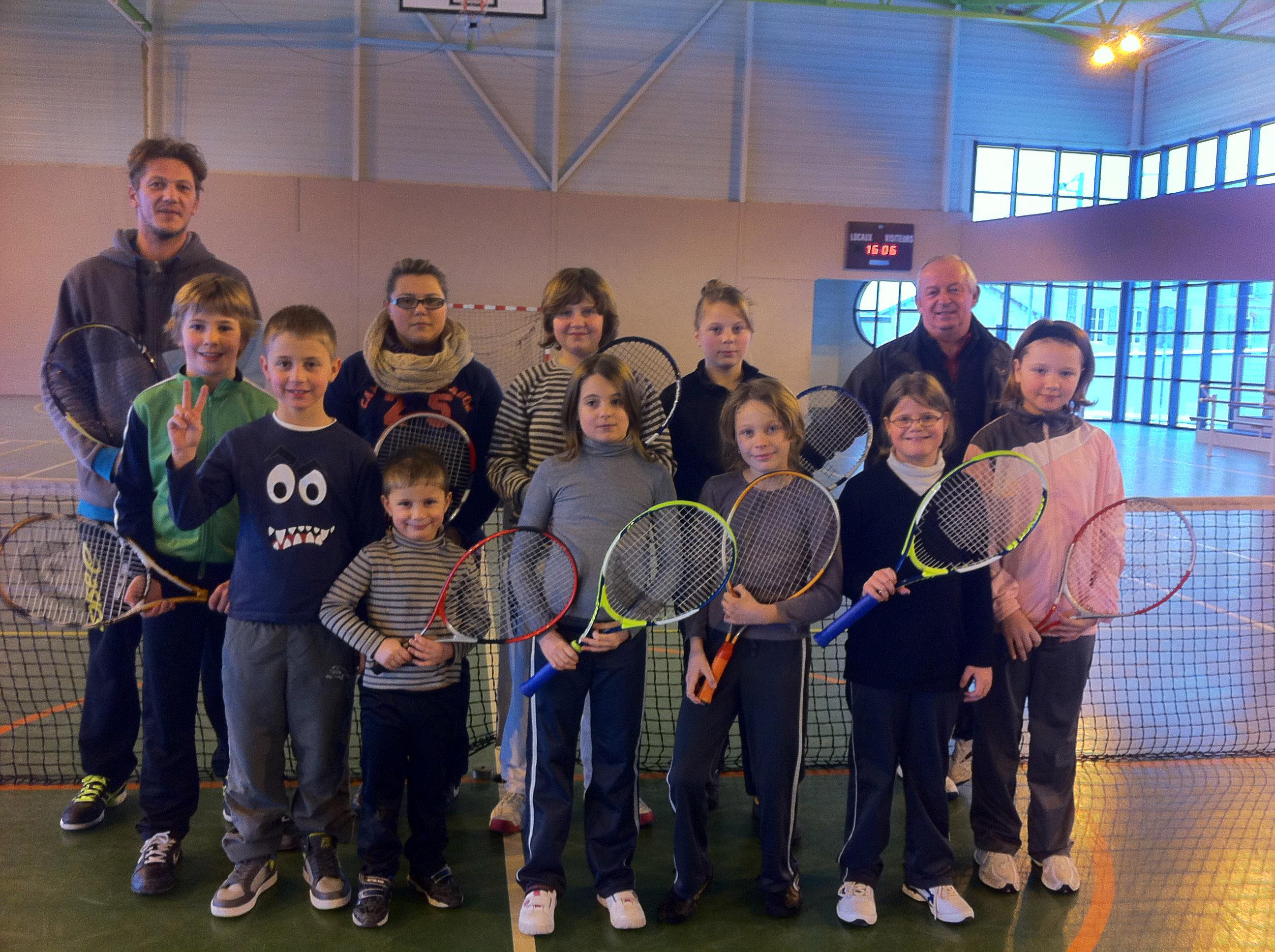 Bernard et David pendant l\'école de tennis